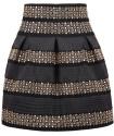 Black High Waist Rivet Studs Striped Skirt for $13 + $5 s&h