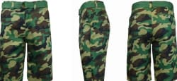 Men's Flat Front Belted Camo Shorts $4