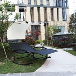 iKayaa Patio Double Chaise Rocker for $150