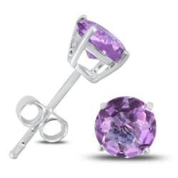 6mm Silver Purple Amethyst Stud Earrings $10