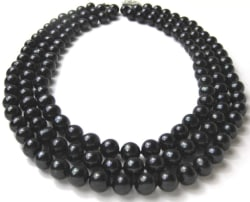 Triple Strand Black Freshwater Pearl Necklace $60