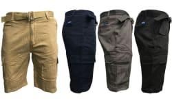Men's 7-Pocket Slim Fit Cargo Shorts w/ Belt $15