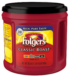 Folgers Ground Coffee 31-oz. Canister for $7