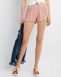 Charlotte Russe Women's Crochet-Trim Shorts $15