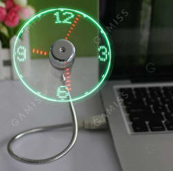 Mini USB Fan with LED Clock Display for $5 + free s&h from China