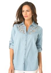 Roaman's Women's 24/7 Denim Cutout Shirt from $25