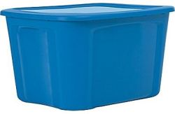 Staples 18-Gallon Plastic Flat-Lid Tote for $4
