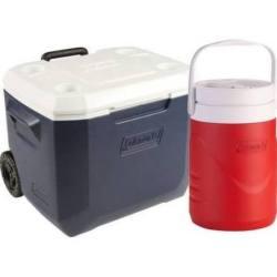 Coleman 50-Quart Wheeled Cooler w/ 1-Gal. Jug $25