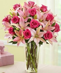Magnificent Pink Rose & Lily Bouquet, Vase for $40
