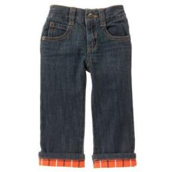 Gymboree Toddler Boys' Plaid Cuff Jeans for $14