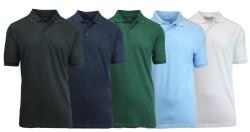5 Men's Uniform Pique Polo Shirts for $30