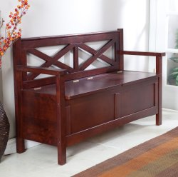 Linon Harper X-Back Storage Bench for $88