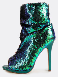 MakeMeChic Women's Sequin Stiletto Boots for $45