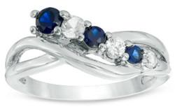 Zales Blue & White Sapphire Split Shank Ring $30