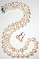 7.5mm Freshwater Pearl Necklace, Earrings Set $12