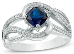6mm Blue Sapphire Diamond Accent Swirl Ring $30