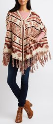 Charlotte Russe Women's Fringed Poncho for $16