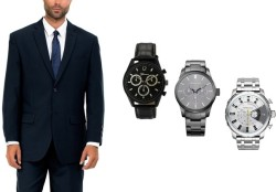 Men's 2-Button Suit with Watch for $60