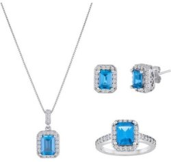 Simulated Blue Topaz 3-Piece Jewelry Set for $40