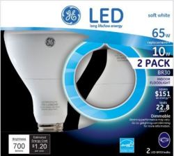 GE 10W LED BR30 Floodlight 2-Pack from $10