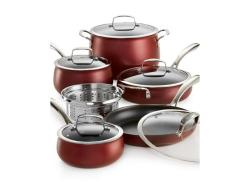 Belgique Aluminum 11-Pc. Cookware Set in Pomegranate