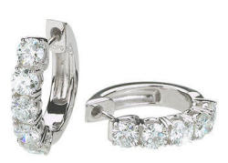 1.45-TCW Round Diamond Hoop Earrings in 14K White Gold