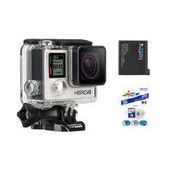 GoPro Hero4 Silver Action Camera + Maxflash Micro 32GB Card & Sportsman Mount