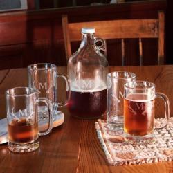 Antlers Monogram 5-Pc. Growler & Beer Mug Set