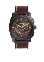 Fossil Men's Machine Chronograph Watch in Brown Leather