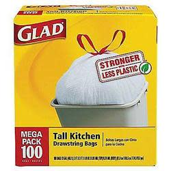 100 Glad 13-Gallon Tall Kitchen Trash Bags for $10